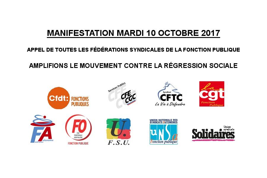 Manifestation 10 octobre 2017: Service Public et amplification de la lutte contre la régression sociale