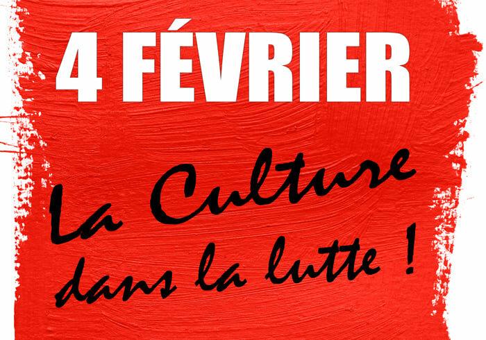 JOURNÉE D'ACTION INTERPRO LE 4 FÉVRIER 2021 – Le spectacle, le cinéma, l'audiovisuel et l'action culturelle dans la lutte !